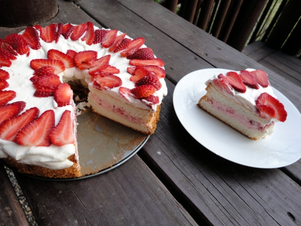 Angel Food Cake with Strawberry Cream Cheese Filling | BlogHer