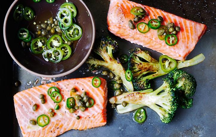 roast-salmon-and-broccoli-with-chile-caper-vinaigrette